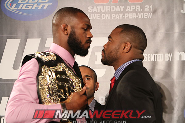 Jon Jones and Rashad Evans at UFC 145