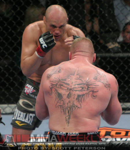 Randy Couture and Brock Lesnar at UFC 91