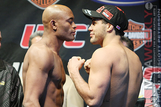 Anderson Silva and Thales Leites at UFC 97