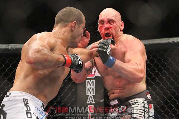 Junior dos Santos and Shane Carwin at UFC 131