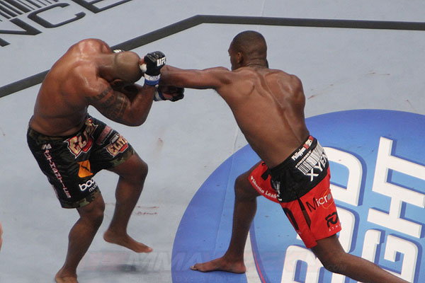 Jon Jones and Quinton Jackson at UFC 135
