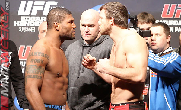 Quinton Rampage Jackson and Ryan Bader at UFC 144 weigh-ins