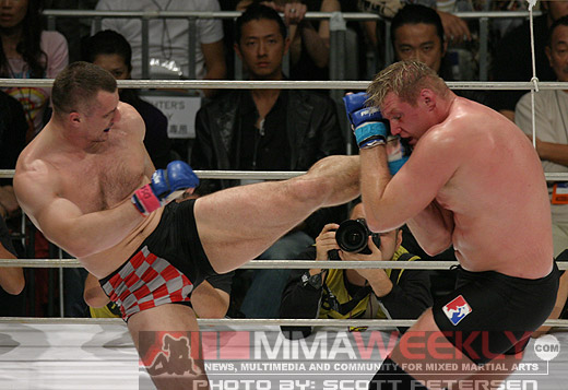 Mirko Cro Cop and Josh Barnett at Pride 30