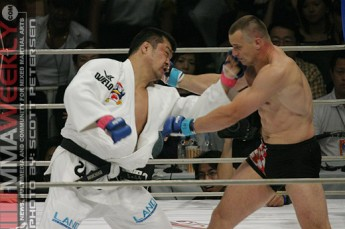 Hidehiko Yoshida and Mirko Cro Cop at Pride Open Weight Grand Prix