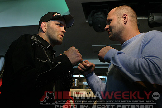 Matt Lindland and Fedor at Bodog Weigh-Ins in Russia