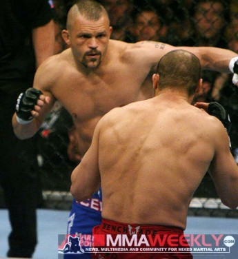 Chuck Liddell and Randy Couture at UFC 57