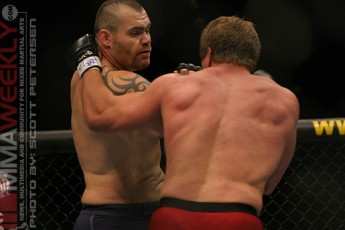 Tim Sylvia and Tra Telligman at UFC 54