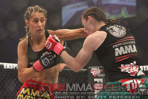 Marloes Coenen and Sarah Kaufman at Strikeforce