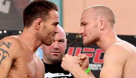 Jake Shields and Martin Kampmann facing off at the UFC 121 weigh-ins.