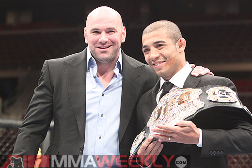 UFC president Dana White and featherweight champion Jose Aldo