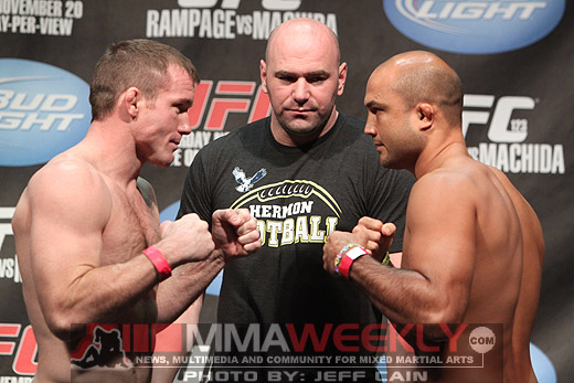 Matt Hughes and BJ Penn at the UFC 123 weigh-ins