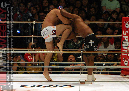 Shogun Rua and Rampage Jackson at Pride Grand Prix 2005
