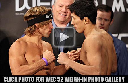 WEC 52 weigh-in photos Urijah Faber vs Takeya Mizugaki