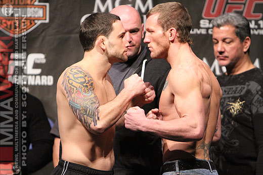 Frankie Edgar and Gray Maynard at the UFC 125 weigh-ins