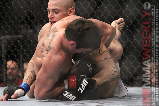 Dustin Poirier and Josh Grispi at UFC 125