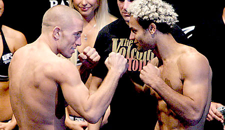 Georges St-Pierre and Josh Koscheck at the UFC 74 weigh-ins