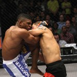 Paul Daley unleashing a knee on Yuya Shirai at BAMMA 5