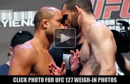 BJ Penn and Jon Fitch at the UFC 127 weigh-ins