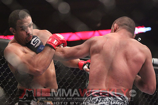 "Dan Henderson lands a shot on Rafael ""Feijao"" Cavalcante at Strikeforce"