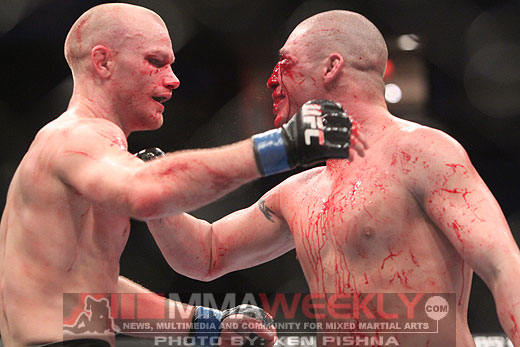 Martin Kampmann and Diego Sanchez show sportsmanship after their battle.