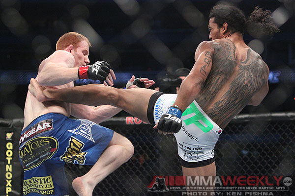 Ben Henderson and Mark Bocek at UFC 129