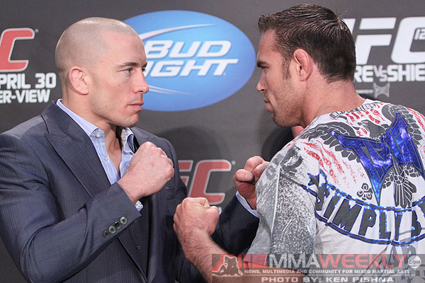 Georges St-Pierre and Jake Shields at UFC 129