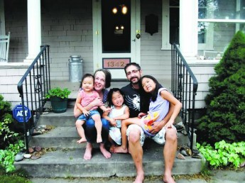 Dr. Alex Constantinides with his wife, Laurel, and their daughters, Hannah, 8, Zoey, 5, and Lucia, 2