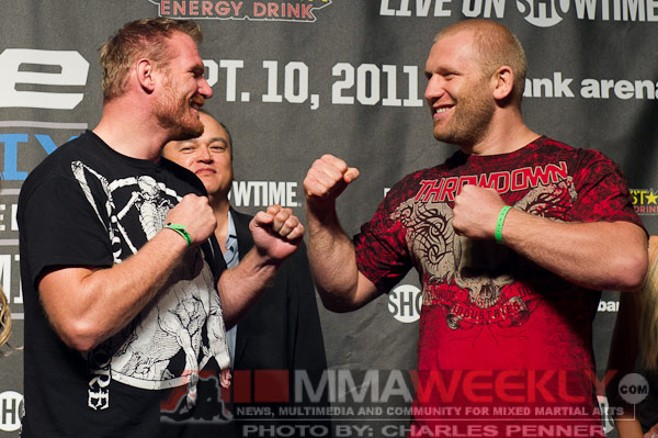 Josh Barnett and Sergei Kharitonov at Strikeforce Grand Prix