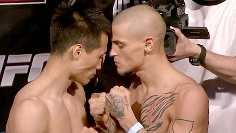 Korean Zombie vs Dustin Poirier at the UFC on Fuel TV 3 weigh-ins