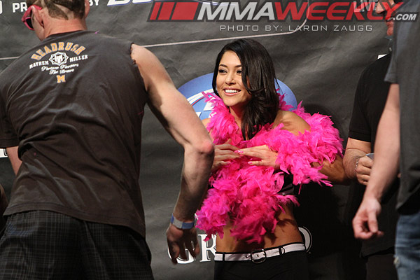 Jason Mayhem Miller and Arianny Celeste at UFC 146 weigh-ins
