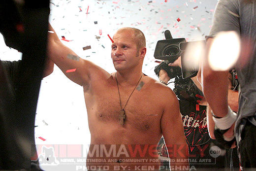 Fedor after defeating Tim Syliva at Affliction 1