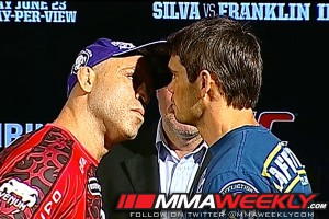 Wanderlei Silva and Rich Franklin face off at UFC 147 press conference
