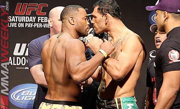Rashad Evans vs Antonio Rogerio Nogueira at the UFC 156 weigh-ins