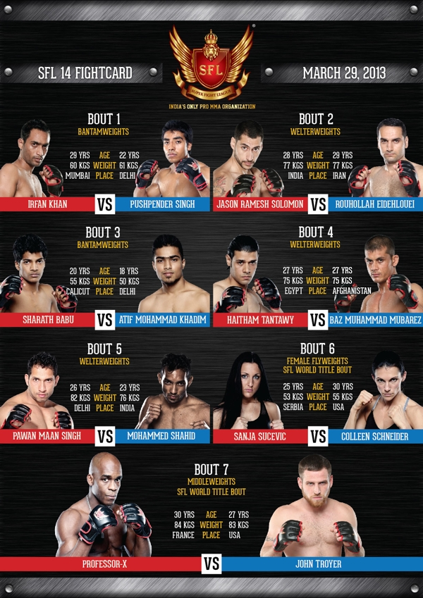 SFL 14 Fight Card