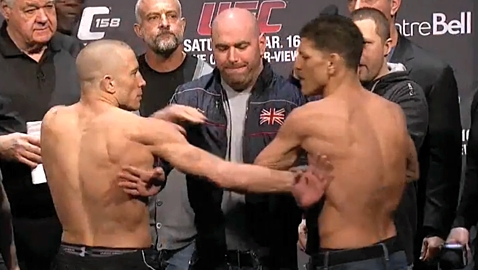 Nick Diaz And Georges St Pierre Mind Games Reached Uncomfortable Levels At Ufc 158 Mmaweekly Com