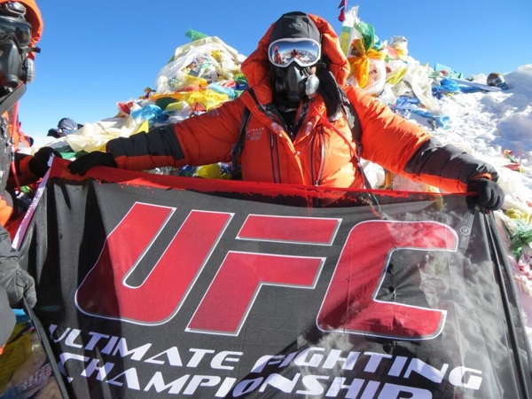 Ruben Payan on Mt Everest UFC Flag