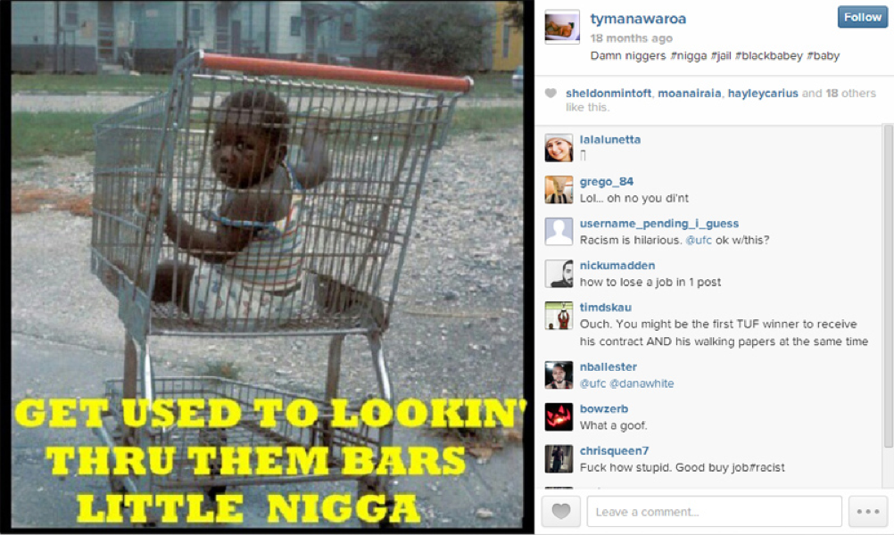 Tyler Manawaroa Instagram-Racist Post
