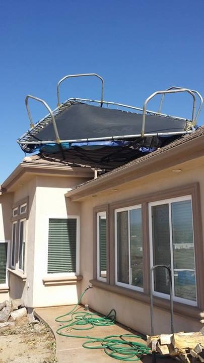 Dan Henderson trampoline on house