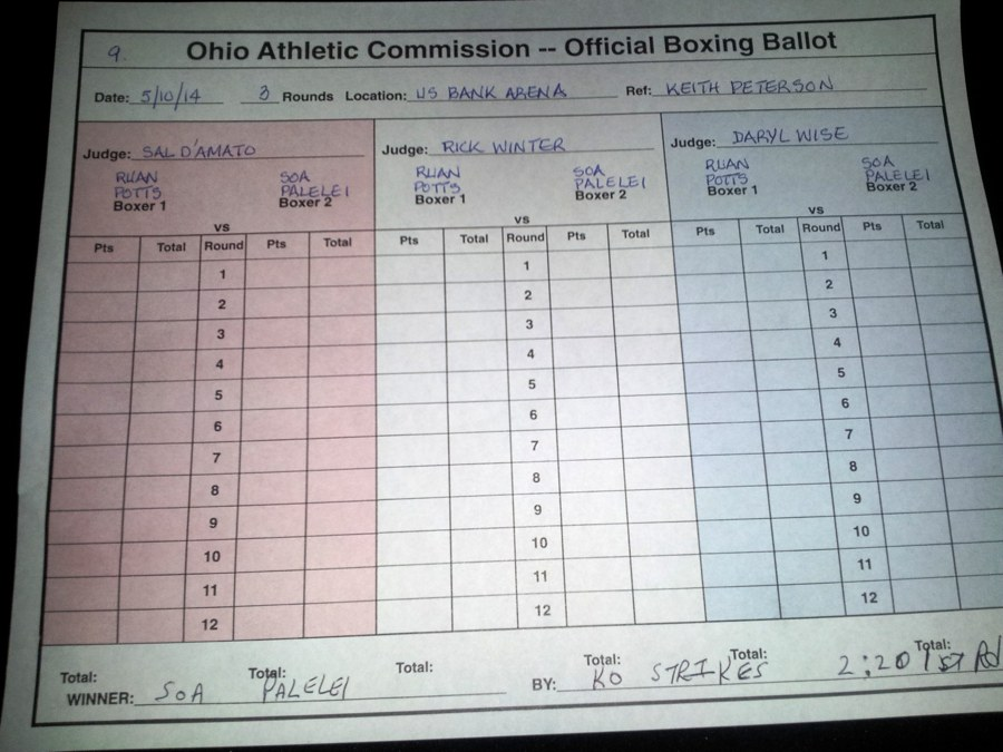 Palelei vs Potts Scorecard