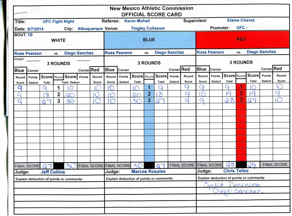 Diego Sanchez vs. Ross Pearson Scorecard