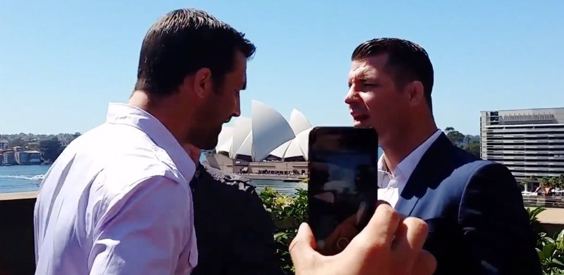 Luke Rockhold and Michael Bisping Argue
