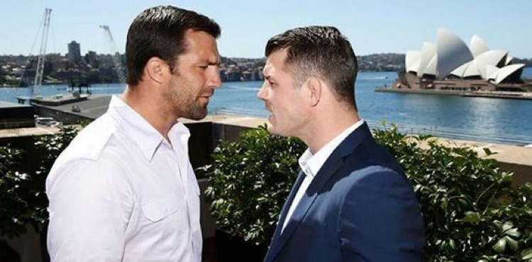 Luke Rockhold and Michael Bisping in Sydney