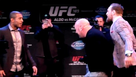 Conor McGregor Loses Cool in Staredown