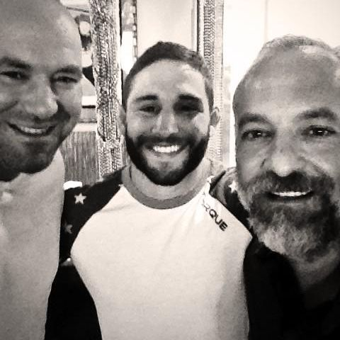 Chad Mendes with Dana and Lorenzo New Deal sq
