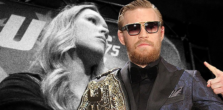 Conor McGregor Belt over Ronda Rousey US Flag 750