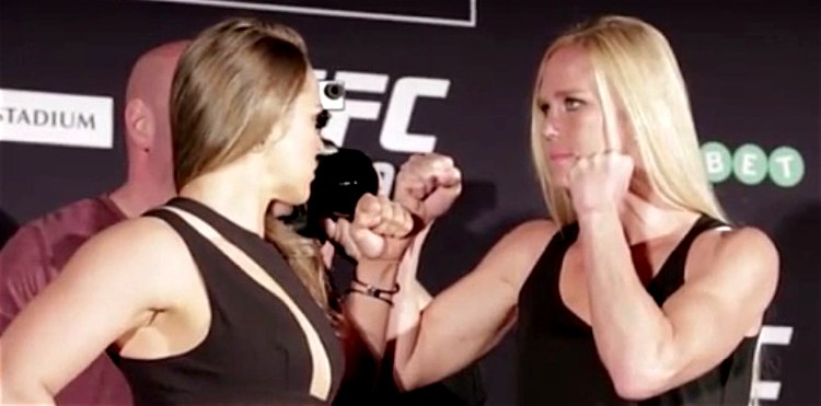 Ronda Rousey vs Holly Holm UFC 193 MD staredown