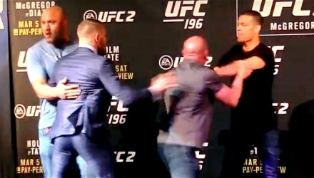 Conor McGregor and Nate Diaz Scuffle at Presser