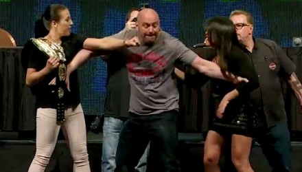 Dana White separating Joanna Jedrzejczyk and Claudia Gadelha