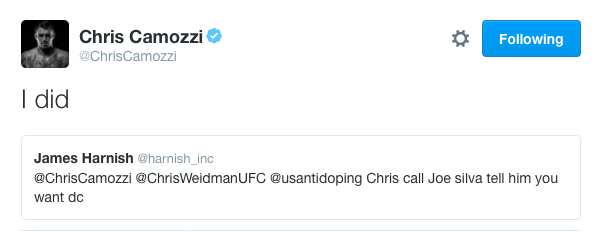 Chris Camozzi would fight DC