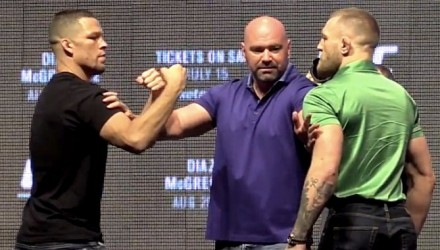 Nate Diaz and Conor McGregor UFC 202 faceoff